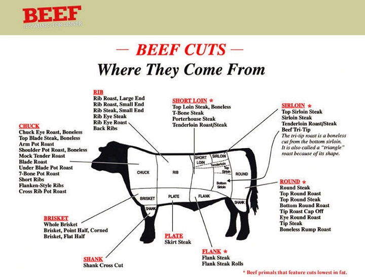 cuts of beef diagram example