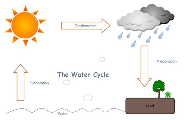 the water cycle diagram draw