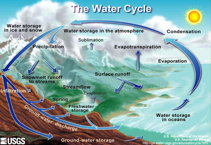 diagram of the water cycle labeled