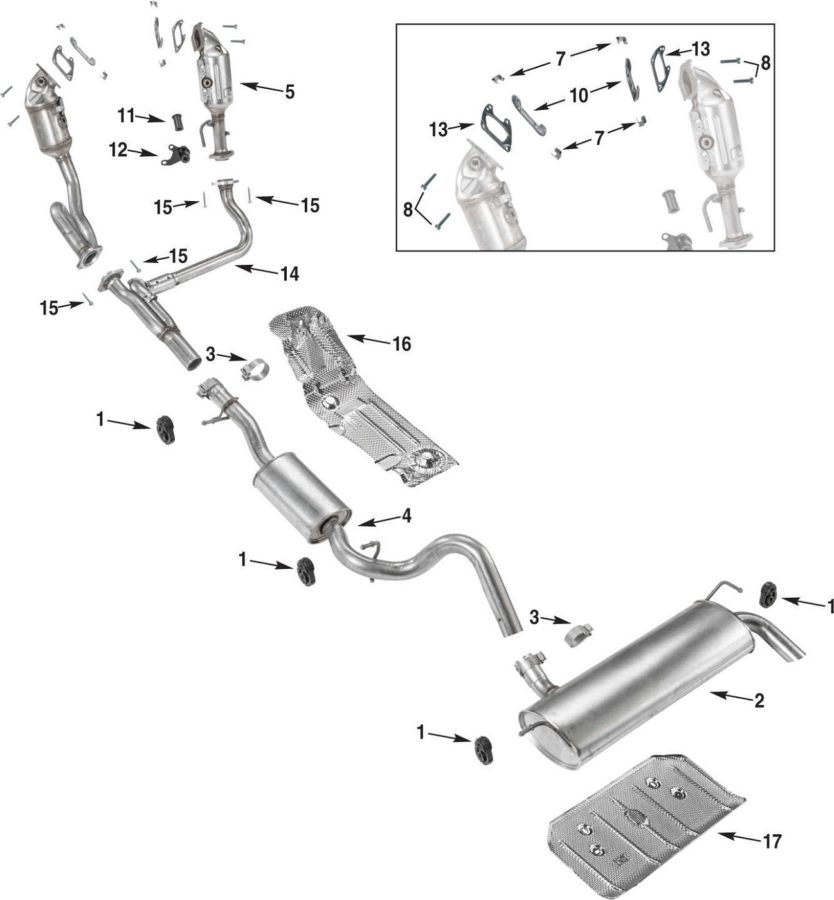 exhaust system diagram unlabeled