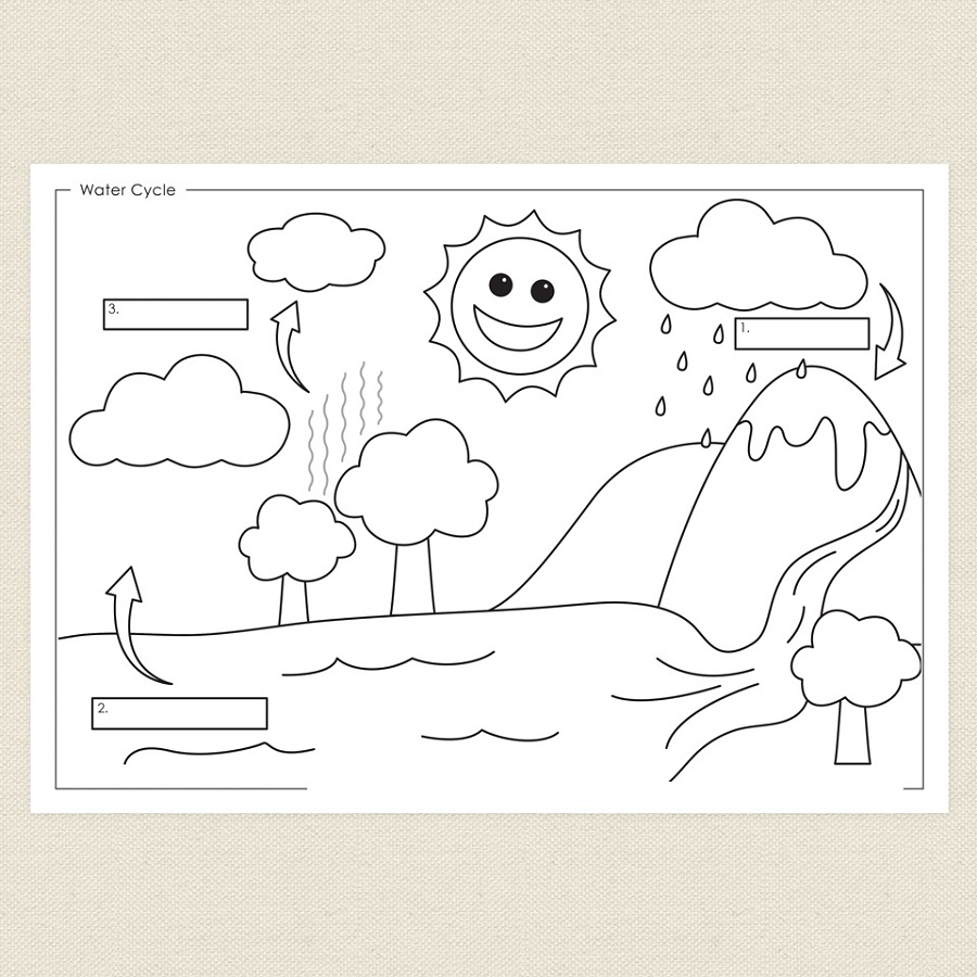 Water cycle diagram for kids to color