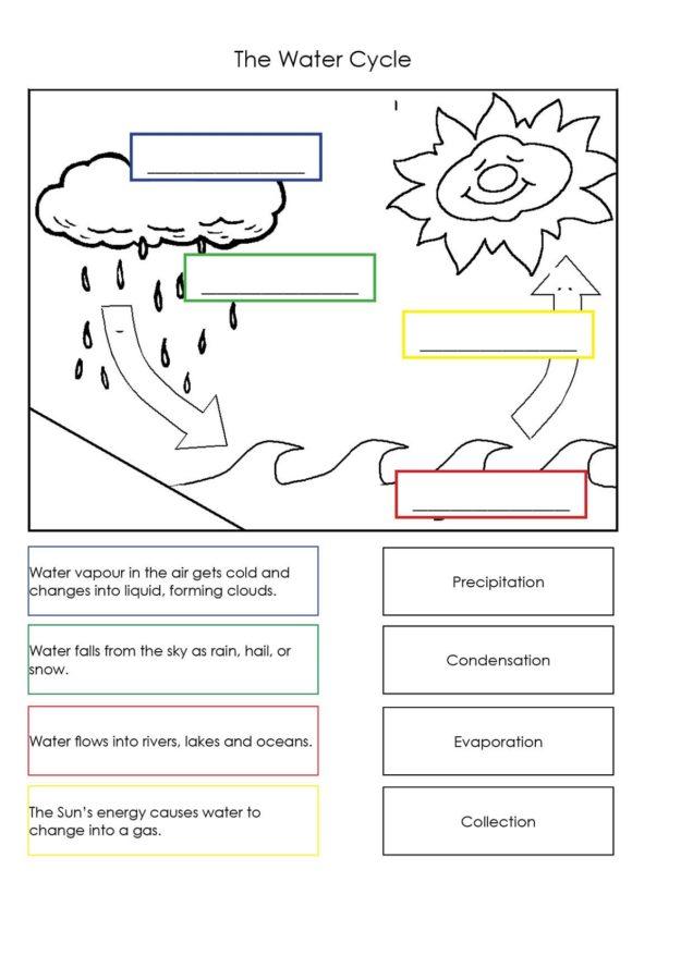 Water cycle diagram for kids worksheet