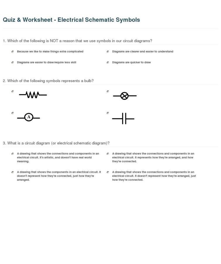Electrical Diagram Symbols Worksheet