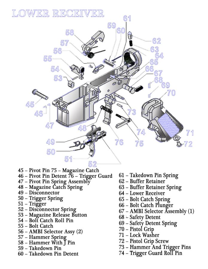 Lower Receiver AR-15 Parts Diagram