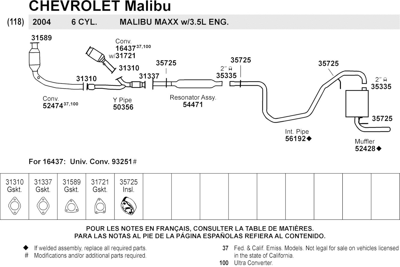 2004 Chevy Malibu Exhaust Diagram